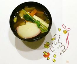 鰤と蛤のお雑煮 広島系 (ぶりとハマグリのお雑煮)